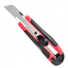 HT-0503 Нож с метал. направ. под лезвие 18мм с обрезиненной рукояткой