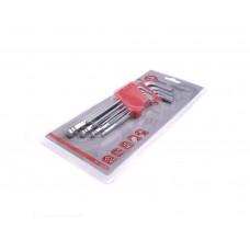 HT-0603 Набор Г-образных 6-гранных ключей с шарообразным наконечником, 9ед,1.5-10мм, Cr-V