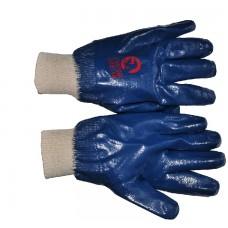 SP-0137W Перчатка маслостойкая х/б трикотаж покрытая нитрилом c вязаным манжетом 10.5' (синяя)