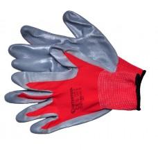 SP-0124 Перчатка красная вязаная синтетическая  покрытая серым нитрилом на ладони 10'