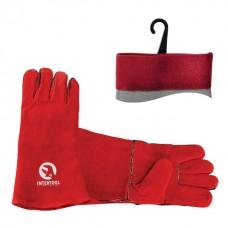 SP-0156W Перчатки замшевые красные 14'  (6/60шт)