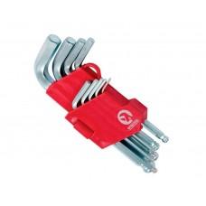 HT-0605 Набор Г-образных 6-гранных ключей с шарообразным наконечником, 9 ед,1.5-10мм,CrV, (60/10)