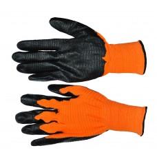 Перчатка стрейчевая оранжевая с черной ребристой заливкой 'Рубилет' ПТ-6255