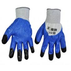 Перчатка стрейчевая с черным пальцем двойная обливка (909) ЛЮКС (12шт)  ПТ-7770
