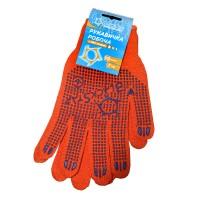 70-07003 Перчатка Оранжевая с синим ПВХ 'BlackStar' плотная 7класс (10/200шт)
