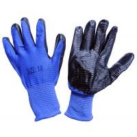 Перчатка стрейчевая синяя с черной ребристой заливкой 'Рубилет' ПТ-8033  (720/12шт)