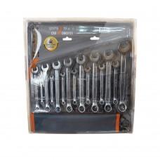321715 Набор ключей рожково-накидных CRV DIN3113  15шт (6-22мм) брез