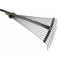 Грабли веерные с регулировкой ширины, 15 прутьев, метал. ручка, гальванированное покрытие ПТ-9749