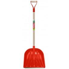 1726-Ч Лопата снегоуборочная 'БелЦентроМаш'410*380мм красная с черенком и метал. ручкой ЦИ