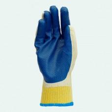 Перчатки садовые  с двойным синим  покрытием (12 шт) ПТ-0472
