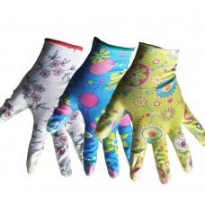 Перчатки женские ассорти с полиурет. покрытием, неполная обливка, цветные(уп.3шт)ЦЕНА ЗА УП. ПТ-0473