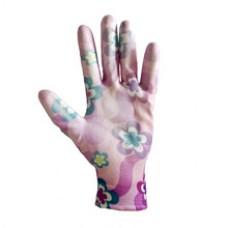 Перчатки женские 'Цветок' с полиуретановым покрытием, неполная обливка, АСОРТИ (12шт) ПТ-0478
