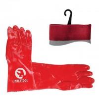 SP-0007W Перчатка маслостойкая х/б трикотаж покрытая PVC, 35см (красная) 120пар/ящик