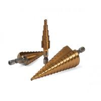 23-322 Набор ступенчатых сверл по металлу HSS 4241, TiN, 3 шт (3-12, 4-12, 4-20)